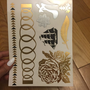Rose Temporary Tattoo, Metallic Tattoo Sheet, Temporary Tattoos, Accessories for Her, Gift for Her, Best Friend Gift, Feather Tattoo