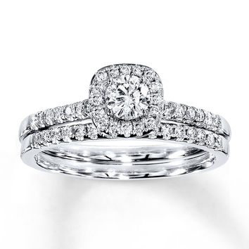 Diamond Bridal Set 1/2 ct tw Round-cut 14K White Gold