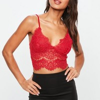 Missguided - Red Corded Lace Cami Bralette