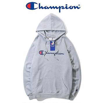 Champion Long Sleeve Hedging Pullover Sweater Hoodies Grey