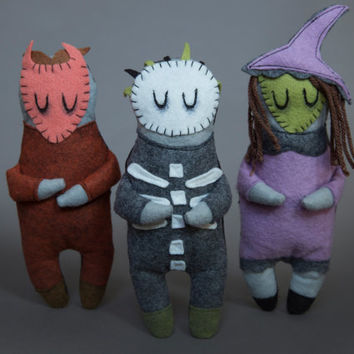 Set of Three - Lock Shock and Barrel - Nightmare Before Christmas Plushes - Cute Disney Plush - Horror Collectable - Tim Burton Inspired Toy