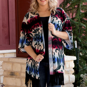 Diamond In The Rough Damask Print Tie Dye Cardigan With Fringe ~ Burgundy ~ Sizes 4-10