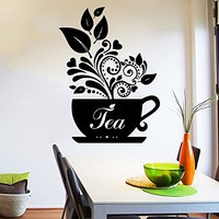 Wall Decal Tea Cup of tea Decals Cafe Dining Vinyl Stickers Murals Modern Interior Kitchen Coffee Shop Home Decor NS499