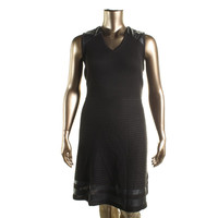 Calvin Klein Womens Plus Ribbed Knit Faux Trim Sweaterdress