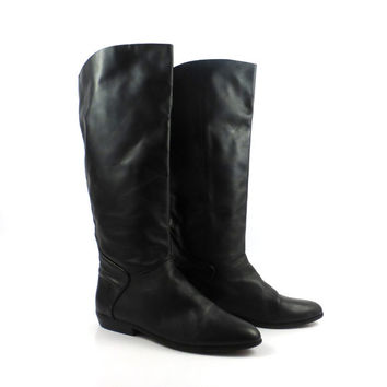 Black Boots Vintage 1980s Leather Flat riding size Nordstrom Women's