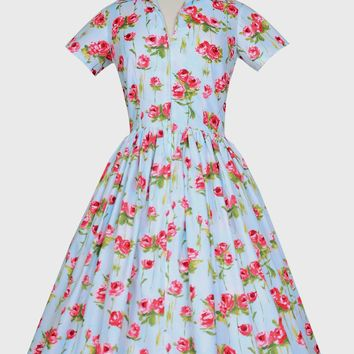 Drive-in Dress in Long Stem Roses Print