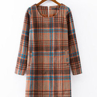 Plaid Long Sleeve A-line Mini Dress