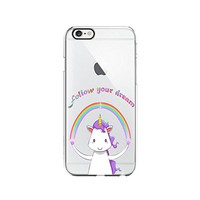 Unicorn Cute Animal Clear Transparent Plastic Phone Case Phone Cover for Iphone 7/8_ SCORPIOshop (VA299, iphone 7/8)