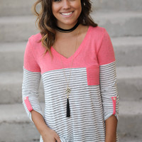 Coral Striped Top with Pocket