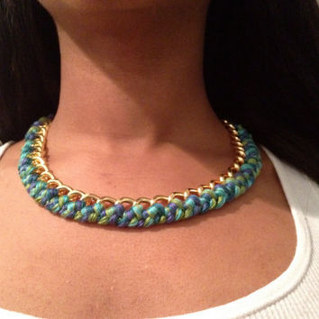 Chunky Woven Chain Necklace - Multiple Colors