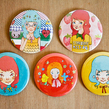 Kawaii Girls / 2.25 Round Pocket Mirror / 6 Designs to Choose From