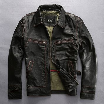 mens cow leather clothing male cattle leather jacket slim genuine cowhide leather motorcycle rider jacket