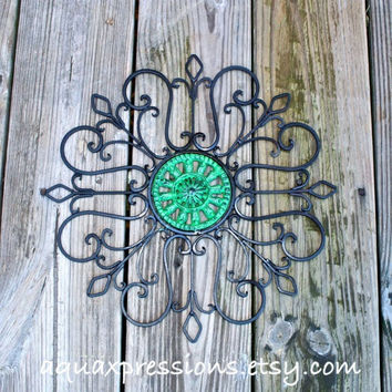Metal Wall Decor /Green /Distressed Patio Decor by AquaXpressions