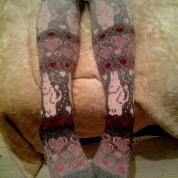"""high socks, stockings  These incredibly beautiful socks knitted from the finest wool """"Artistic"""". Wool is soft and fluffy."""