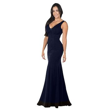 V-Neck and Back Navy Blue Evening Gown Sleeveless
