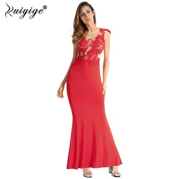 Ruiyige Women Lace Patchwork Hollow Out Sexy Maxi Dress Long Party Summer Evening Vestidos Sleeveless Swing Pleated Mesh Robes