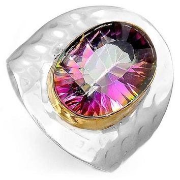 Mystic Topaz Cigar Band 925 Sterling Silver Ring