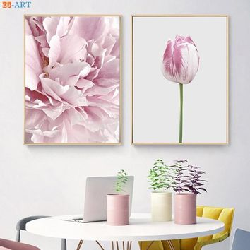 Tulip Prints Flowers Poster Pink and Grey Pastel Wall Art Modern Botanical Canvas Painting Bedroom Decor