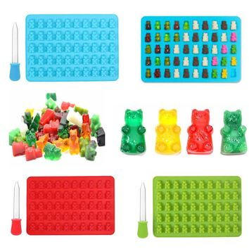 50 Grids Gummy Bear Shaped Silicone Ice Cube Candy Baking Mold