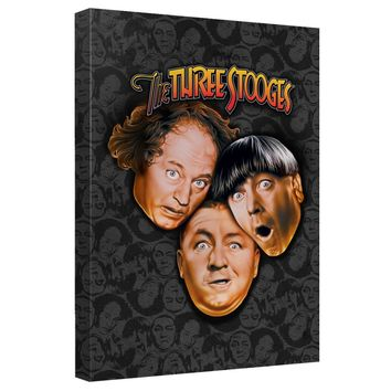 Three Stooges - Stooges All Over Canvas Wall Art With Back Board