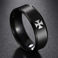 Knight Templar Cross Black Band Ring