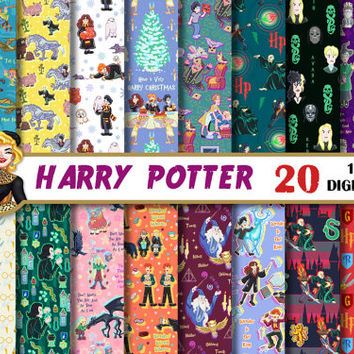 Harry Potter digital paper, Gryffindor,Slytherin,Luna,Voldemort, birthday, party, for invitations, Scrapbooking Paper, patterns, backgrounds