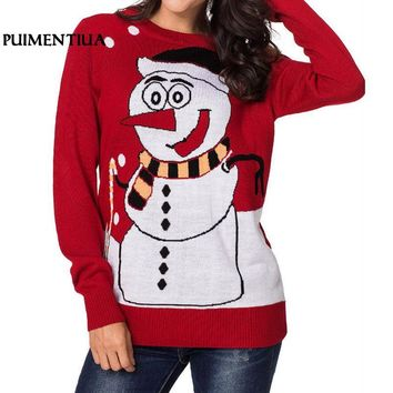 Puimentiua 2018 New Ugly Christmas Sweater Kawaii Snowman Print Knitted Sweater Winter Long Sleeve Pullover Jumpers Plus Size