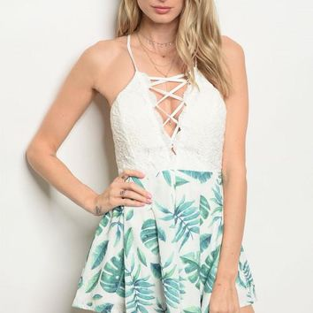 Tropical Foliage Lace Up Romper