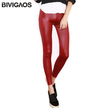 Leather Spandex Ankle Length Leggings