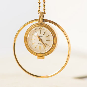 Vintage watch pendant necklace gold plated women's watch round Russian watch pendant with ring