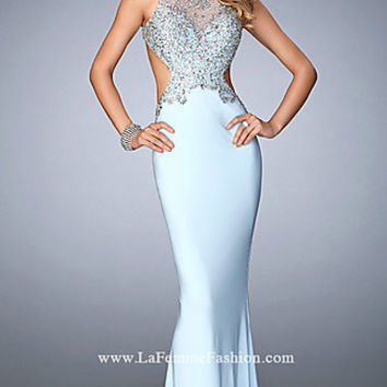 Open Back Embellished Floor Length Jersey Gigi Prom Dress