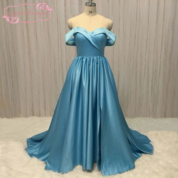 SuperKimJo Casamento Off the Shoulder Prom Dresses 2018 Sweetheart Neckline A Line Satin Blue Prom Gown Vestido Longo