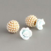Double-sided Pastel Rose & Pearl Earrings