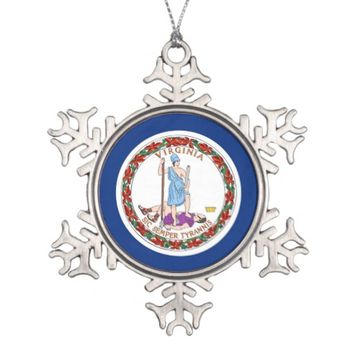 Snowflake Ornament with Virginia Flag