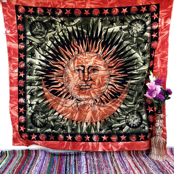 Bedspread, wall decor, Table throw, dorm decor, Sun and moon