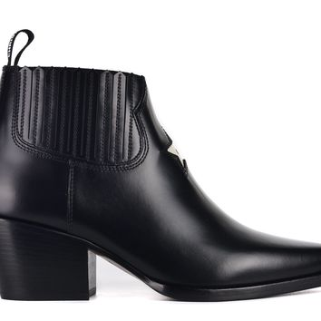 Dior Womens Black Leather Dior L.A. Western Ankle Boots