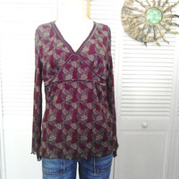 Boho Brown Blouse Hippie Empire Waist Bohemian Clothes Cowgirl Glam