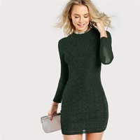 Army Green Office Lady Elegant Glitter Form Fitting Long Sleeve Party Pencil Dress Modern Lady Women Dresses