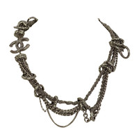 Chanel 2014 Pewter Multi-Chain Chocker Necklace w/ Rhinestone Links & CC