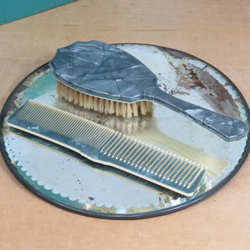 Celluloid Hair Brush and Comb Set . Circa 1930s . Boar Bristle . Blue Pearlized Lustre . Vintage Vanity Set