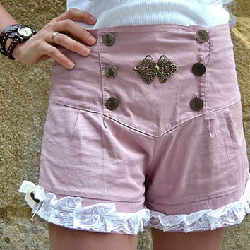 cotton shorts   , for steampunk  victorian ,baroque styles, upcycled couture