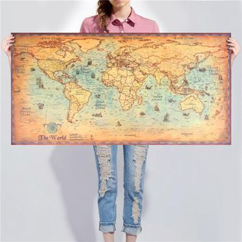 World Map Deluxe Vintage Poster Retro Ocean Sea Maps Living Room Bar Pub Cafe Painting Wall Sticker Old Maps Home Decor
