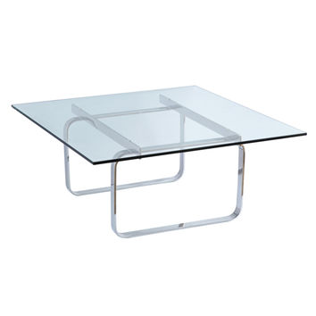 Hans Coffee Table, Glass Stainless Steel