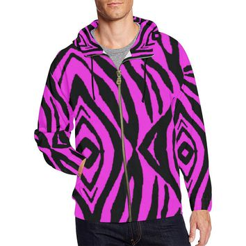 Pink Stripes Design 1 Men's All Over Print Full Zip Hoodie