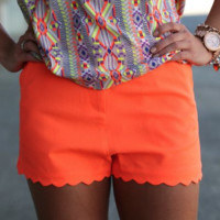 Wave Hem Shorts {Hot Orange}