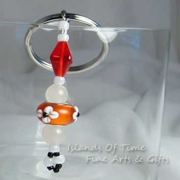 Red White Art Glass Snow Quartz Beaded Key Chain 1.25 Inch Key Ring