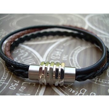 Mens Leather Bracelet, Triple Strand,  with Stainless Steel Magnetic Clasp, Mens Jewelry, Mens Bracelet