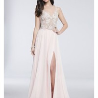 Floral-Beaded Illusion-Bodice Chiffon Gown | David's Bridal