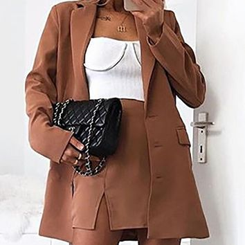 Calm And Collected Brown Long Sleeve V Neck Lapel Three Button Blazer Jacket Outerwear