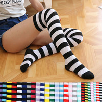 Fashion Japanese Candy Color Long Striped Stockings Sexy Sokken Vrouwen Kawaii Women Over Knee High Socks Girls Lolita Stocking